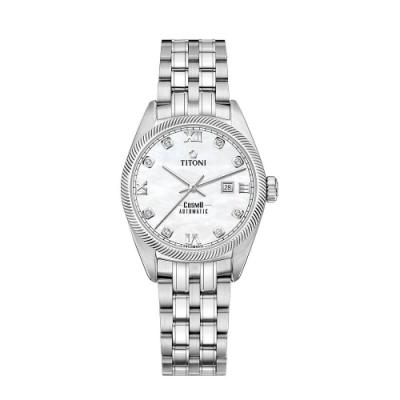 TITONI瑞士梅花錶 宇宙系列女錶 (818 S-652)-珍珠母貝錶盤/不鏽鋼鍊帶/30mm