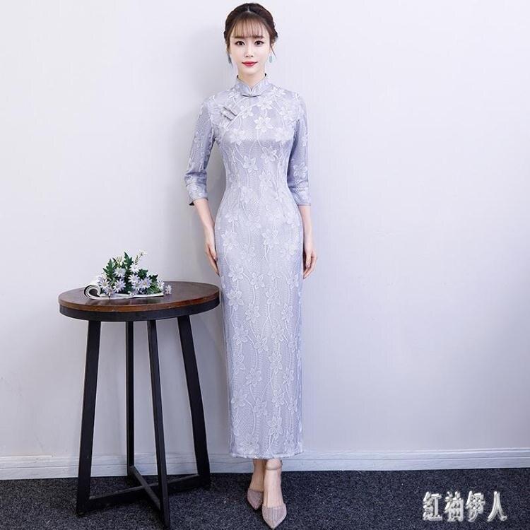 大碼蕾絲繡花改良式旗袍 日常長款氣質淑女復古春夏 BT24331夏洛特居家名品