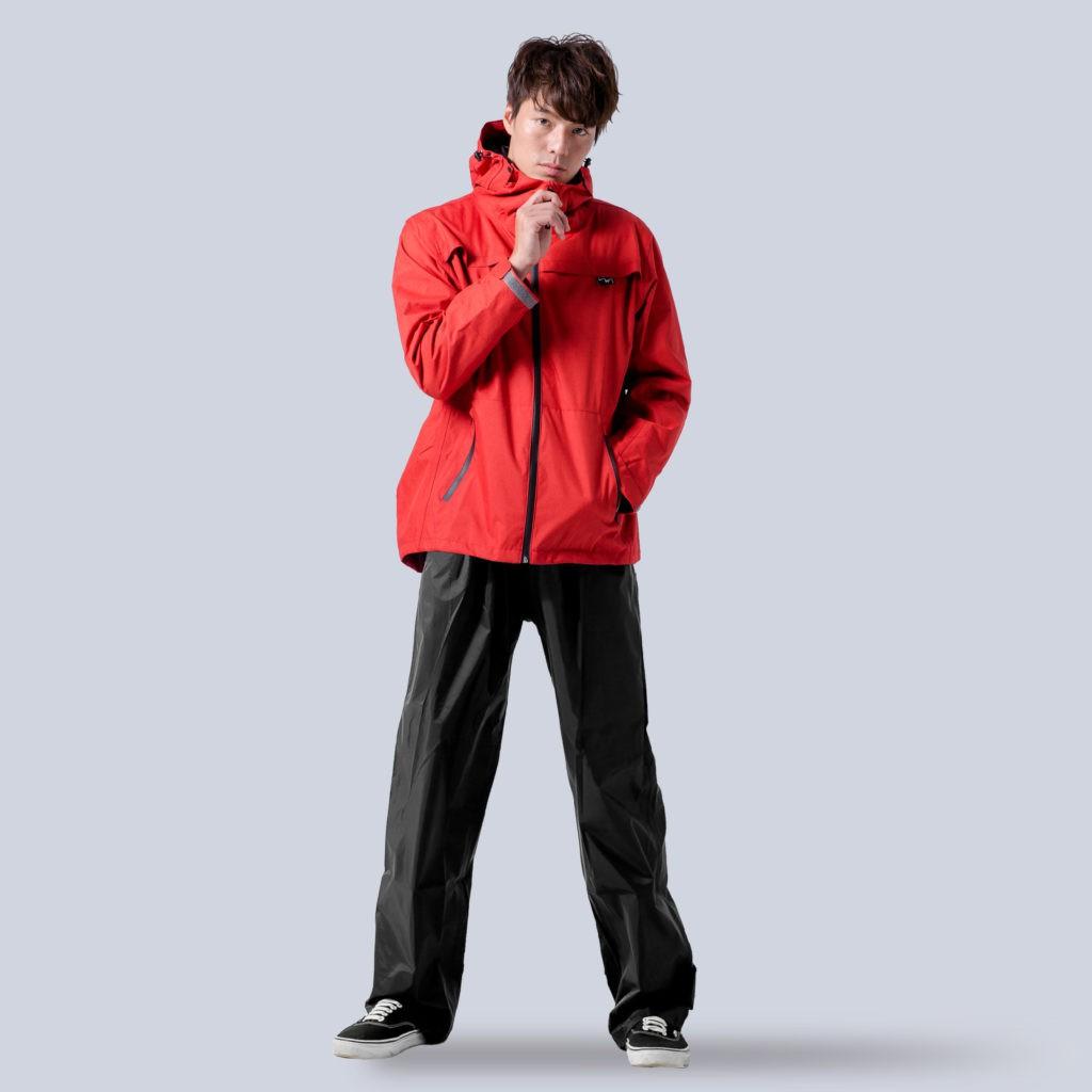 Outperform 奧德蒙 揹客 Packerism 夾克式背包款衝鋒雨衣(搭配尼龍雨褲) 緋紅 兩件式雨衣《比帽王》