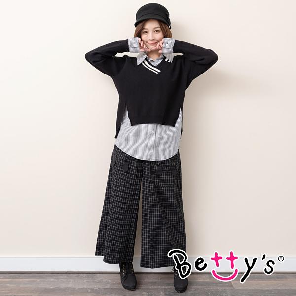betty's貝蒂思 文藝風兔耳細格寬褲(黑色)