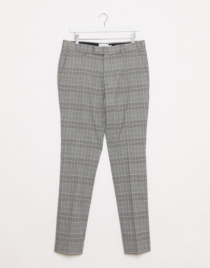 Topman skinny smart puppytooth check trousers in stone & black