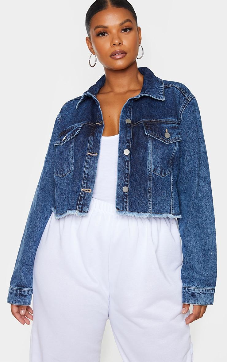 Plus Mid Blue Washed Denim Crop Jacket