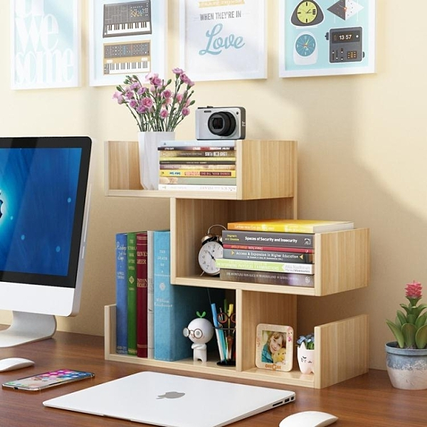 簡易桌上小書架兒童桌面置物架學生家用書柜簡約辦公收納柜省空間 向日葵