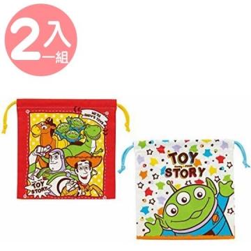 玩具總動員 棉質束口袋組《2入.白綠.舉雙手》20x20cm.收納袋.縮口袋