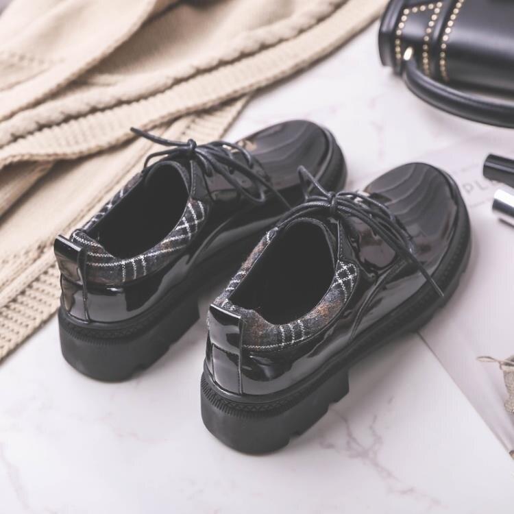 牛津鞋 初系英倫風平底小皮鞋女秋學院風系帶漆皮復古厚底牛津鞋