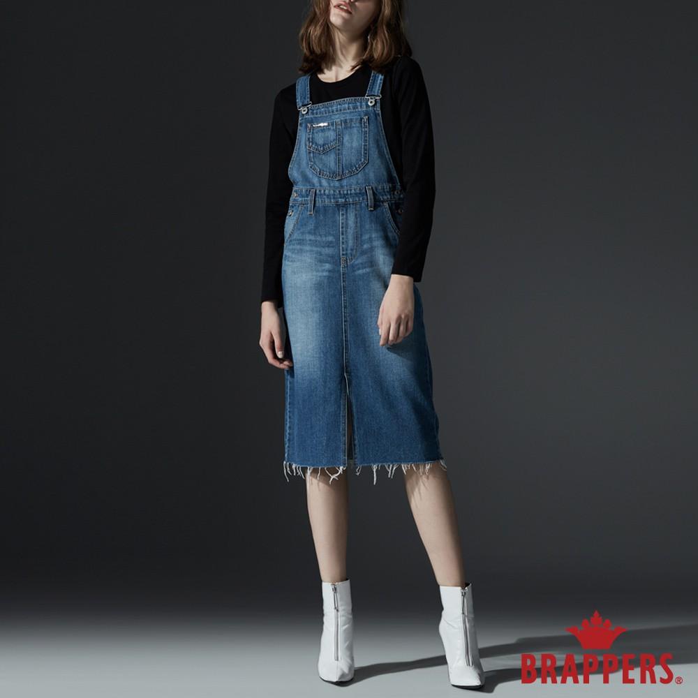BRAPPERS 女款 Boy friend系列-下擺抽鬚俏麗吊帶裙-藍