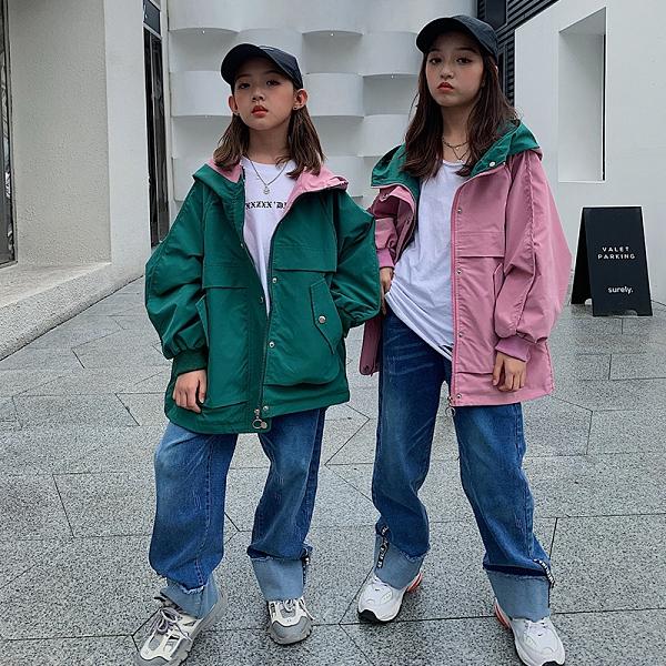 女童外套韓版外套 秋季中大童風衣夾克外套 拼接工裝女童外套 時尚女孩女童外套 潮流女童外套