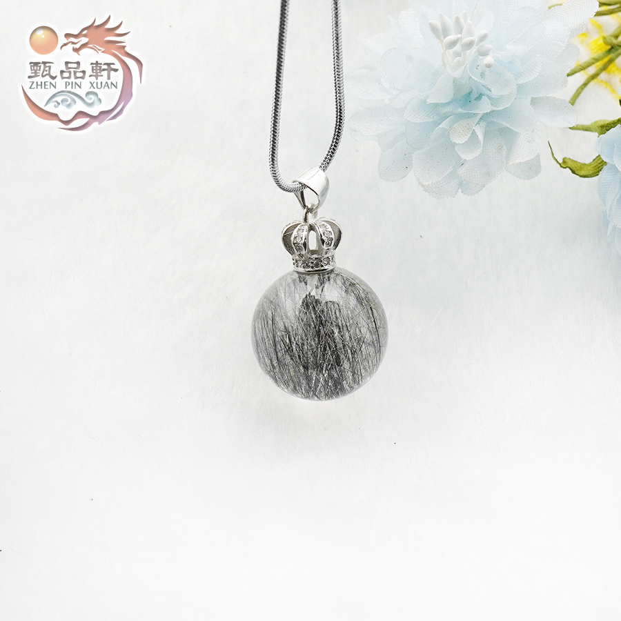 甄品軒✡黑髮水晶球串珠鍊珠吊墬 水晶項鍊 髮晶 透明水晶 異像水晶