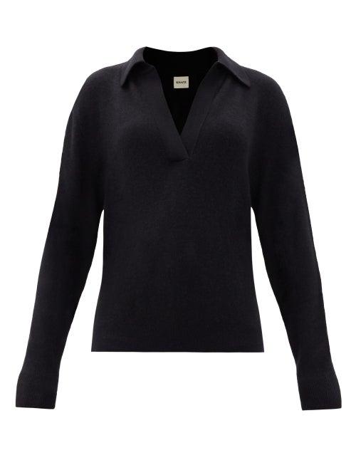 Khaite - Jo V-neck Knitted Cashmere-blend Sweater - Womens - Black