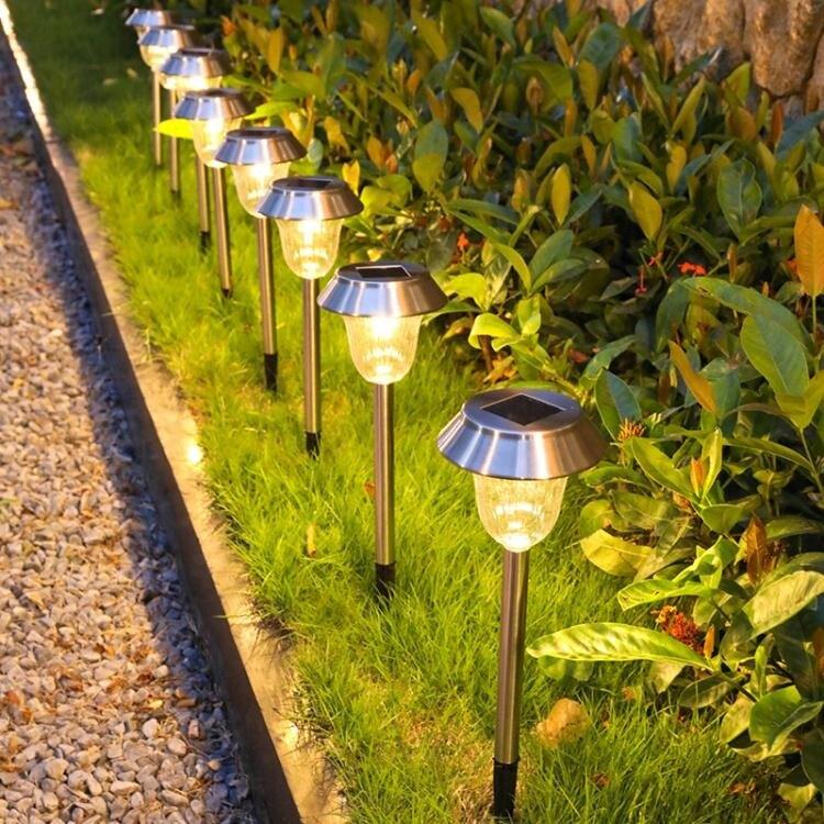 太陽能草坪燈戶外庭院燈花園別墅防水地插裝飾路燈院子感應小夜燈 新年禮物