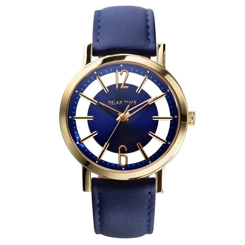 RELAX TIME輕熟時尚鏤空腕錶-金x藍 RT-56-13S/36mm
