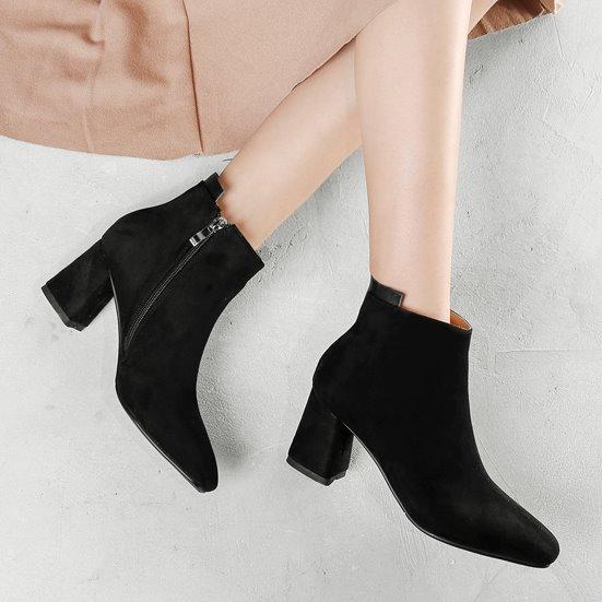 粗跟靴.韓風超顯瘦絨布側拉鍊高跟短靴.白鳥麗子
