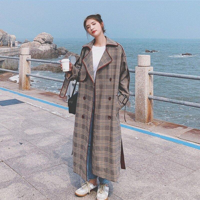 風衣外套長版大衣-格子包邊復古春秋女外套73yx7【獨家進口】【米蘭精品】