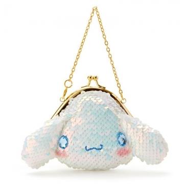 〔小禮堂〕大耳狗 大臉造型亮片口金吊飾零錢包《藍白》掛飾.耳機包