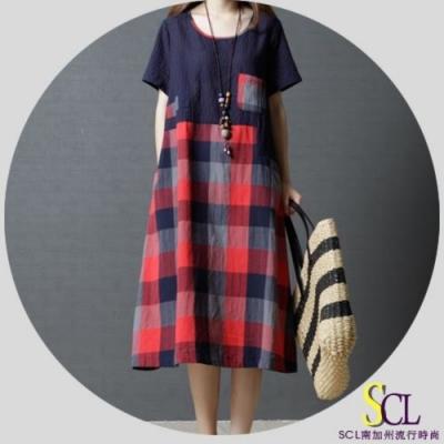 SCL 拼接格紋不規則個性連身裙