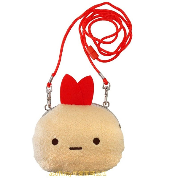 asdfkitty*日本san-x角落生物炸蝦造型絨毛雙珠扣零錢包/票卡包/斜背包-日本正版商品