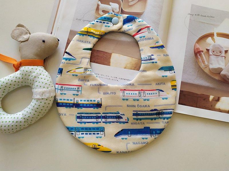 新幹線火車 後扣圍兜 彌月禮物 圍兜 嬰兒圍兜 寶寶圍兜 雙面圍兜
