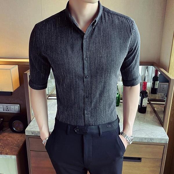 七分袖襯衫 男韓版潮流帥氣夏季薄款英倫風條紋短袖襯衣發型師潮牌  降價兩天