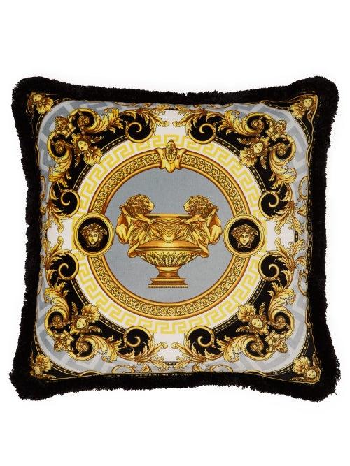 Versace - La Coupe Des Dieux Velvet Cushion - Grey Gold