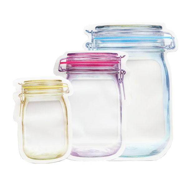 梅森瓶夾鏈袋(大/中/小/長型) 梅森瓶 保鮮夾鏈袋 造型夾鏈袋 收納袋