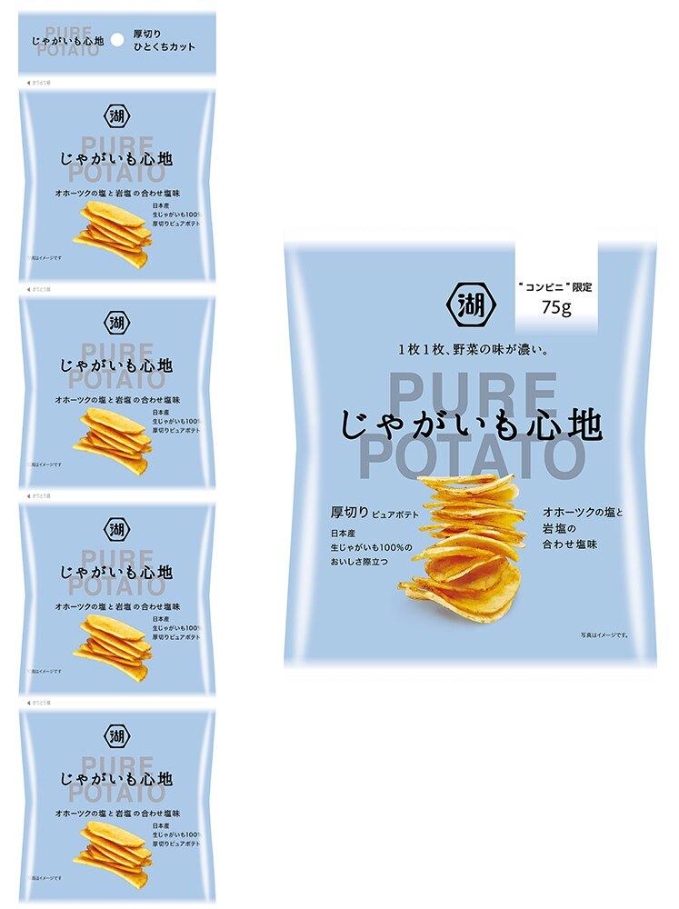 【江戶物語】湖池屋 心地厚切薯片 岩鹽味 四連包 PURE洋芋片 厚切洋芋片 日本餅乾 日本進口