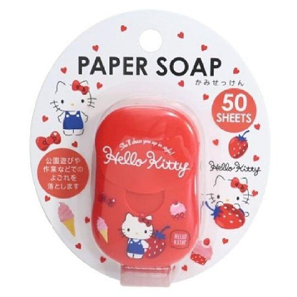 小禮堂 Hello Kitty 攜帶型盒裝紙肥皂 紙香皂 皂紙 草莓香 (50入 紅 草莓) 4525636-28608