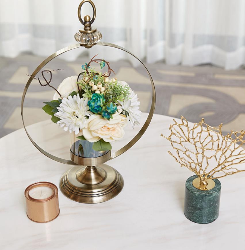 美式輕奢華花瓶擺件客廳插花幹花餐桌擺設歐式電視櫃家居軟裝飾品 金屬燭台花瓶 可以插花可以當燭台