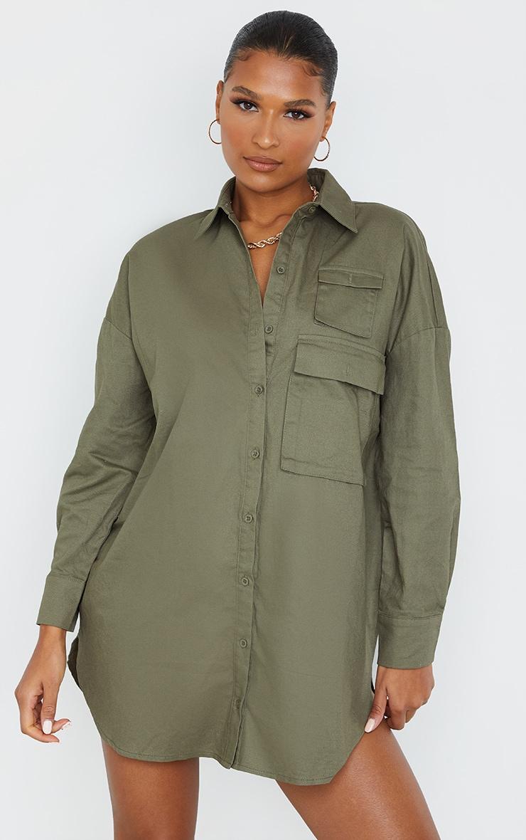 Khaki Cargo Multi Pocket Shirt Dress