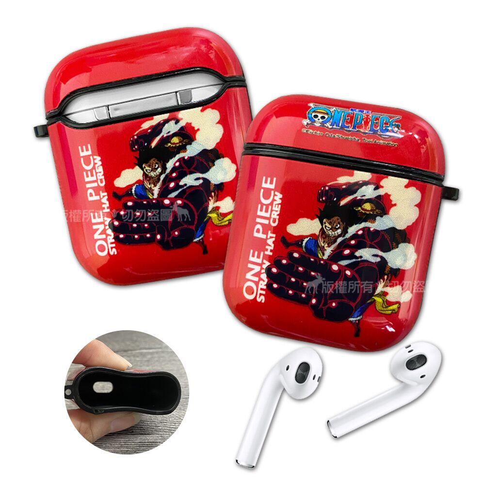 正版授權 航海王 AirPods 1/2代通用 TPU彩繪耳機盒保護套(四檔魯夫)