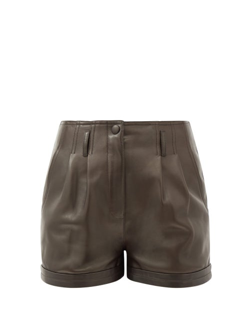 Saint Laurent - High-rise Pleated Leather Shorts - Womens - Dark Brown