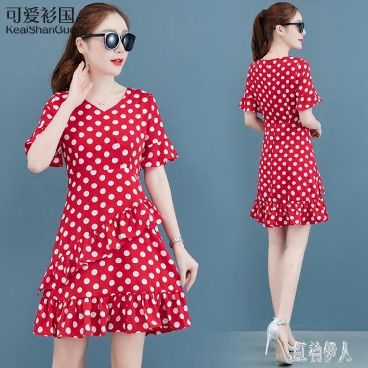 夏季波點連身裙中長款短袖2020新款氣質甜美雪紡洋裝很仙的女裝潮 yu12901夏洛特居家名品