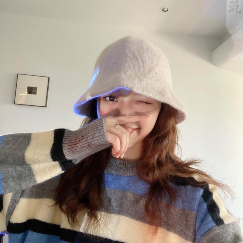 木瓜製品/羊毛呢針織秋冬漁夫帽 日系素色百搭顯臉小水桶盆帽