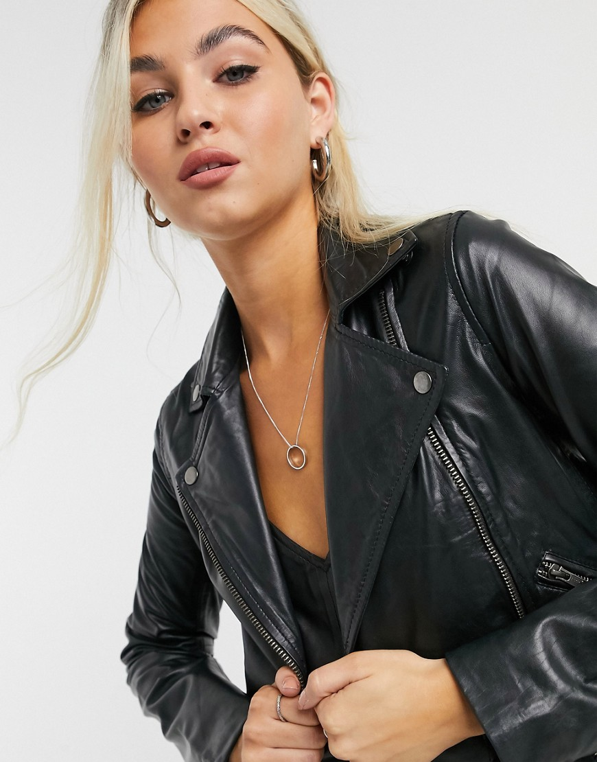Muubaa classic leather biker jacket in black