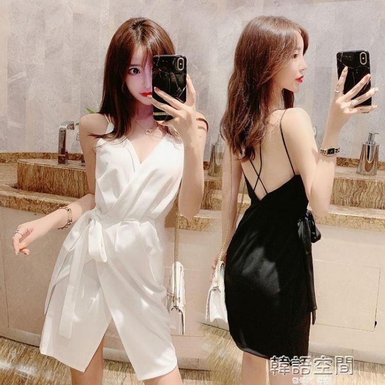 洋裝 洋裝小禮服夏氣質赫本風性感低胸v領心機小黑裙子露背吊帶洋裝 夏洛特居家名品