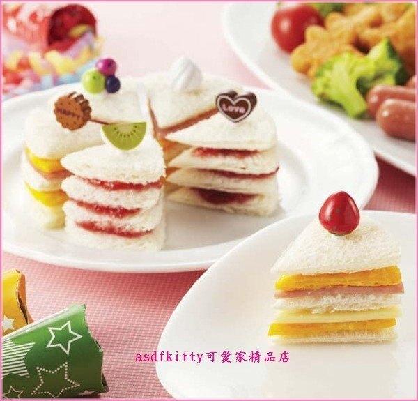 asdfkitty*特價 日本TORUNE蛋糕造型 吐司壓模含食物叉/水果插.三明治叉-日本正版