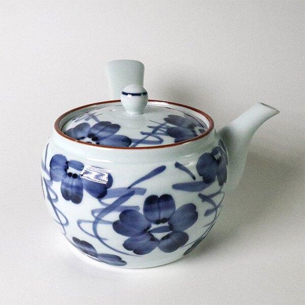 日本陶壺【有田燒】染花紋 橫手急須0.35L 泡茶壺