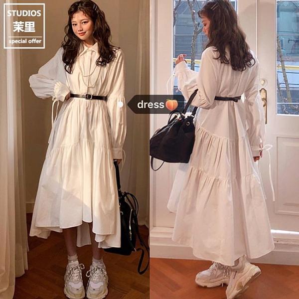綁帶洋裝 小白裙女秋韓國仙仙襯衫綁帶復古寬鬆POLO領內搭中長款洋裝-Milano米蘭