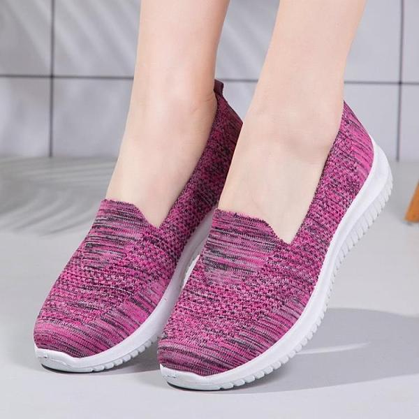 運動鞋 春夏布鞋女軟底防滑中老年媽媽單鞋運動休閒舒適輕便健步鞋-Ballet朵朵