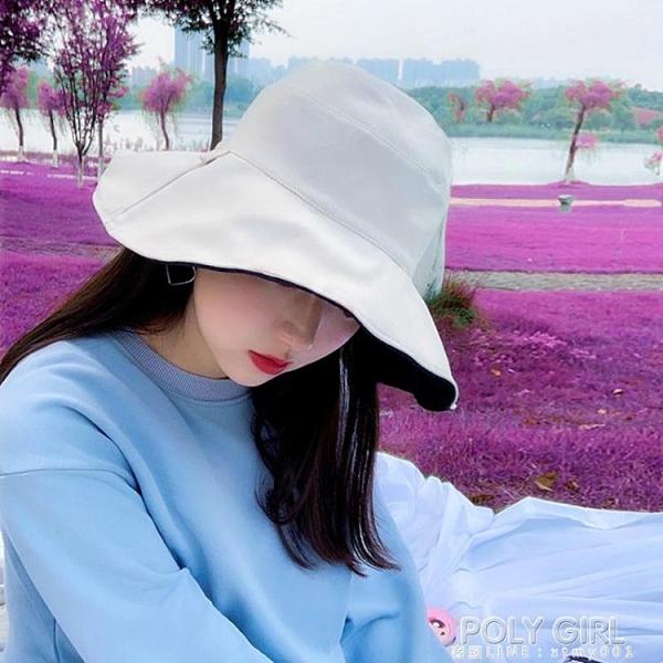 日本uv雙面漁夫帽女韓版潮百搭遮臉大帽檐遮陽防曬太陽帽夏季帽子 夏季新品