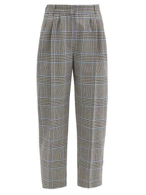 Alexander Mcqueen - Cropped Prince Of Wales-check Wool Suit Trousers - Womens - Grey Multi