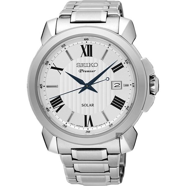SEIKO精工 Premier 羅馬太陽能紳士手錶-銀/42mm V157-0BZ0S(SNE453J1)