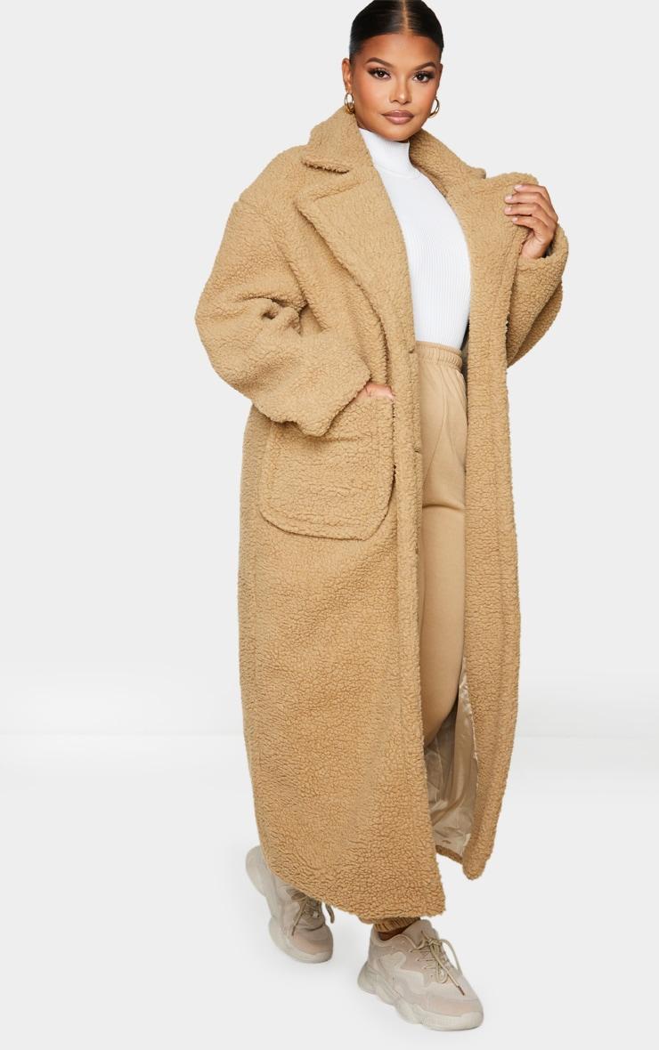 Plus Camel Borg Longline Coat