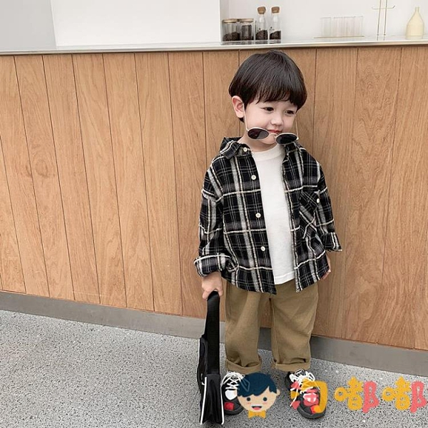 男童格子襯衫寶寶秋裝長袖襯衣小兒童春秋韓版上衣潮【淘嘟嘟】