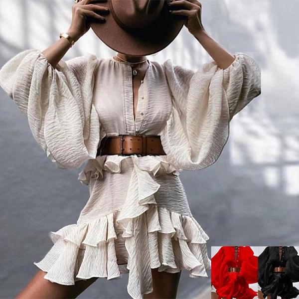 荷葉洋裝 2020初秋新款女裝燈籠袖荷葉邊收腰顯瘦連身裙 萬聖節鉅惠