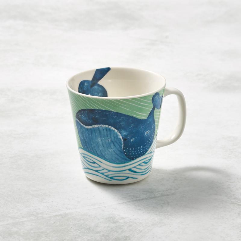 日本美濃燒-海之島系列馬克杯-悠悠藍鯨