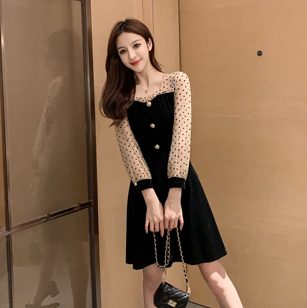 VK旗艦店 韓國風優雅波點網紗袖拼接絲絨氣質長袖洋裝
