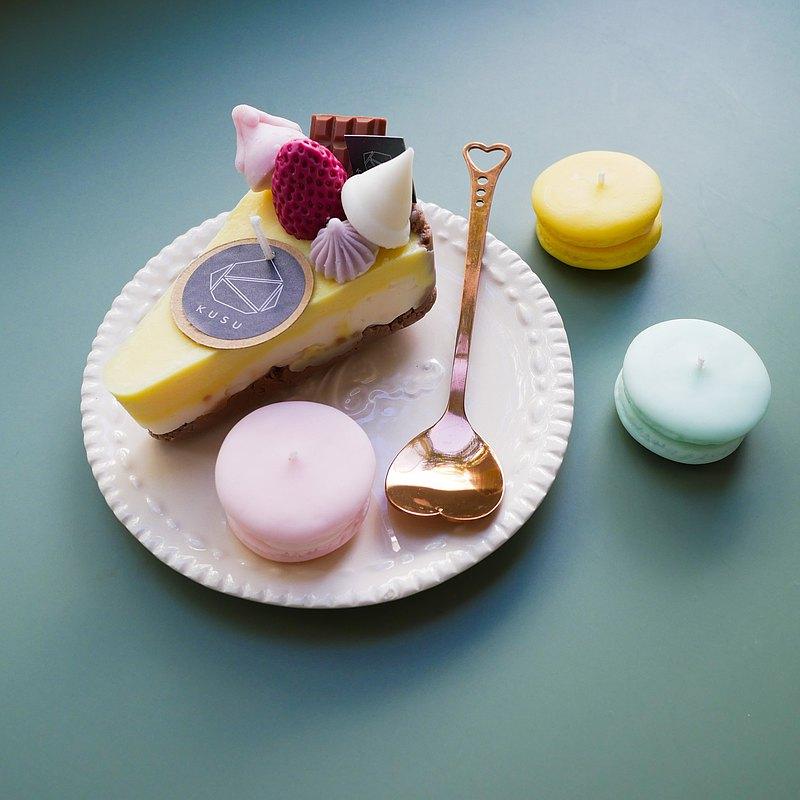 甜點蠟燭套裝:蛋糕和瑪卡龍