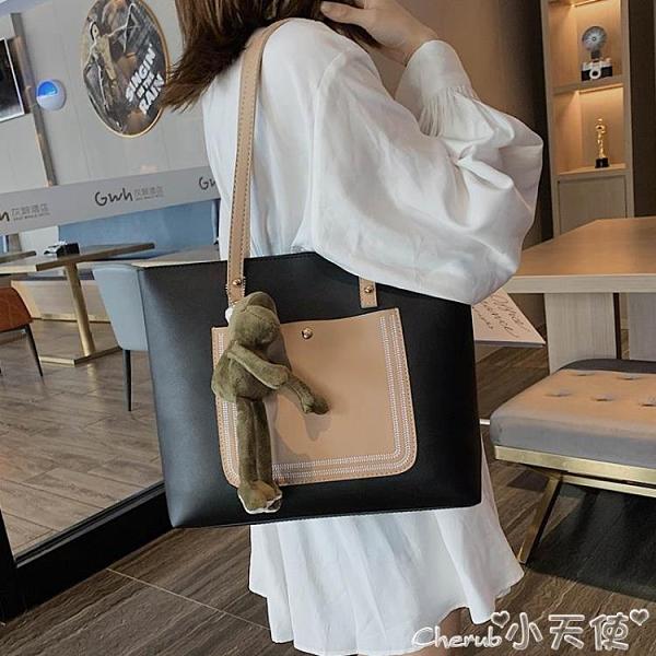 側背包 手提側背大包包2021新款潮大學生上課包洋氣大容量時尚女包托特包 小天使