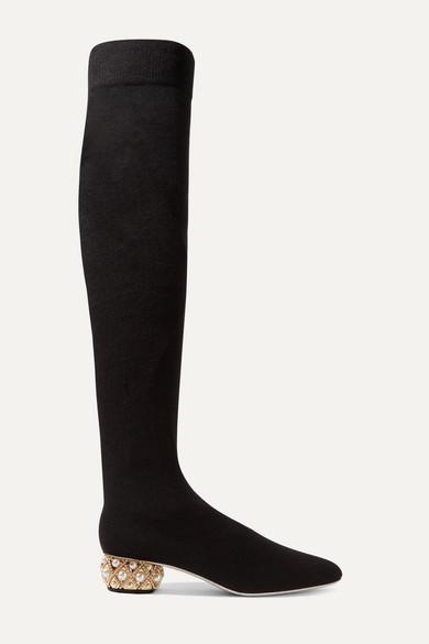 René Caovilla - Grace 带缀饰羊绒过膝长靴 - 黑色 - IT38