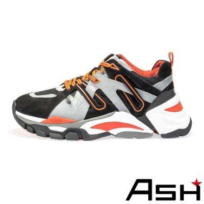 ASH-FLASH時尚拼接撞色厚底增高老爹鞋-黑橘